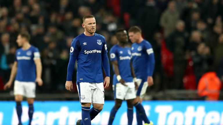 LONDON, ENGLAND - JANUARY 13:  Wayne Rooney of Everton look dejected during the Premier League match between Tottenham Hotspur and Everton at Wembley Stadi