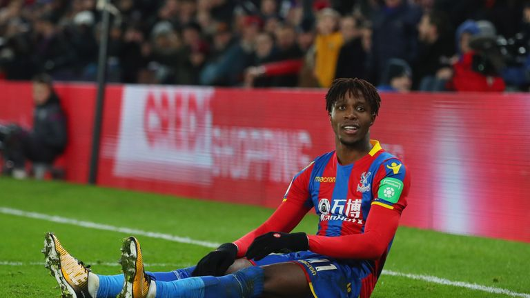 Wilfried Zaha is one of the 12 players sidelined for Crystal Palace on Sunday