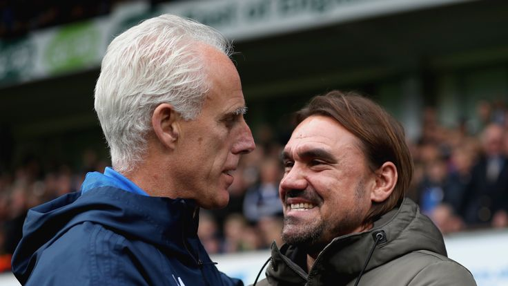 IPSWICH, ENGLAND - OCTOBER 22: Mick McCarthy, manager of Ipswich and Daniel Farke, Manager of Norwich City embrace prior to the Sky Bet Championship match