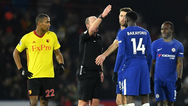 Tiemoue Bakayoko of Chelsea is sent off by referee, Mike Riley during the Premier League match against Watford.