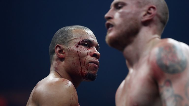 MANCHESTER, ENGLAND - FEBRUARY 17:  Chris Eubank JR of England looks on during his WBSS Super Middleweight bout against George Groves of England at the Man