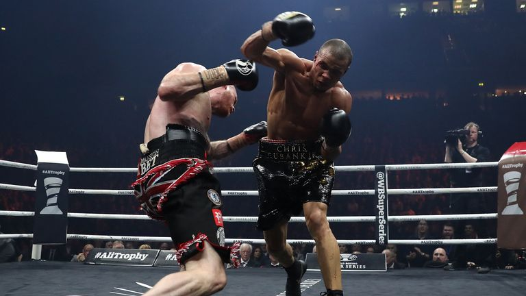 MANCHESTER, ENGLAND - FEBRUARY 17:  George Groves of England and Chris Eubank JR of England exchange blows during their WBSS Super Middleweight bout at the