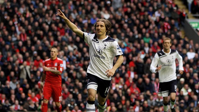 Luka Modric of Tottenham celebrates after scoring his team's second goal from the penalty spot during the 2011 Premier League win over Liverpool at Anfield
