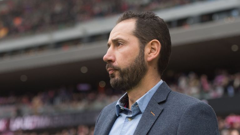 Girona manager Pablo Machin looks on during the La Liga match between Atletico Madrid and Girona in Madrid