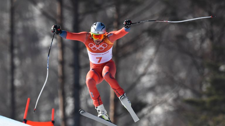 Svindal skied in aggressive style at the Jeongseon Alpine Centre
