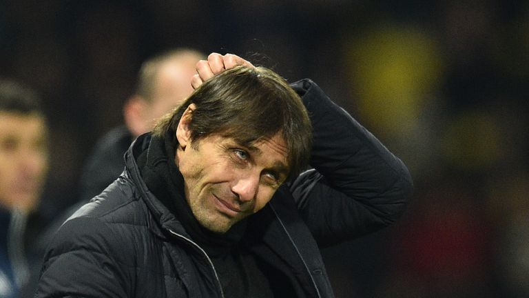 Chelsea's Italian head coach Antonio Conte looks on during the English Premier League football match between Watford and Chelsea at Vicarage Road Stadium i