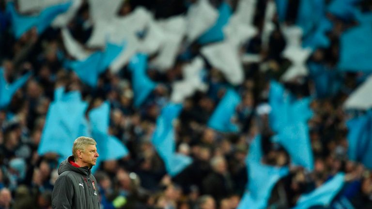 Arsene Wenger looks on with his Arsenal team losing 3-0 in the Carabao Cup Final