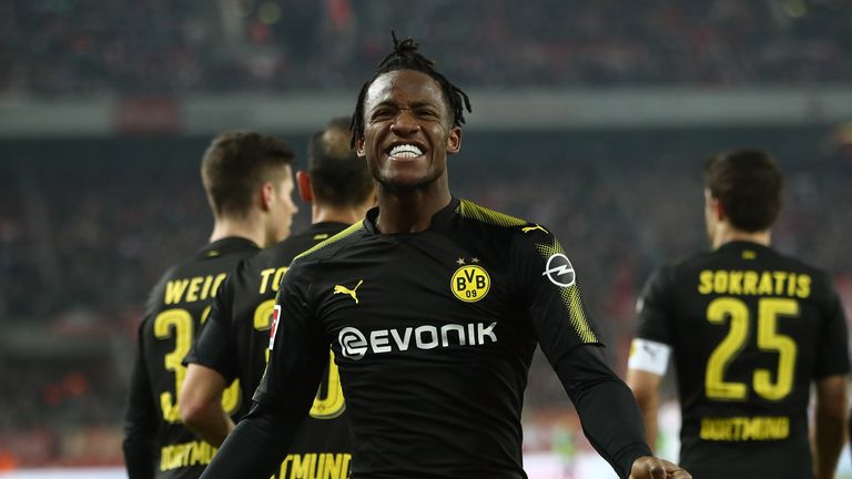 Michy Batshuayi celebrates his double on debut for Dortmund