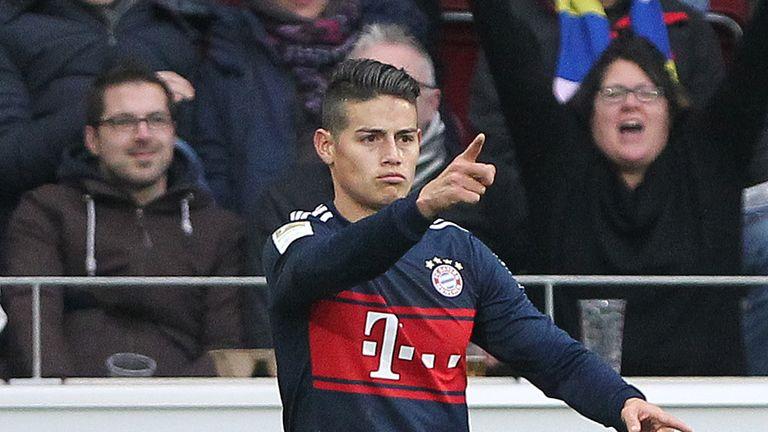 Munich's Bayern Munich's Colombian midfielder James Rodriguez celebrates scoring the 1-0 during the German first division Bundesliga football match Mainz 0