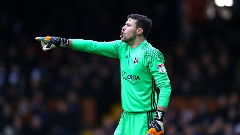 LONDON, ENGLAND - JANUARY 29:  Marcus Bettinelli of Fulham FC gives his team instructions during The Emirates FA Cup Fourth Round match between Fulham and