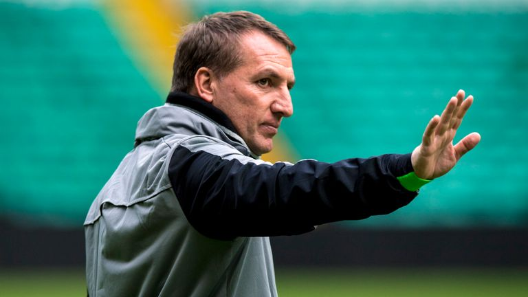 Celtic manager Brendan Rodgers at training