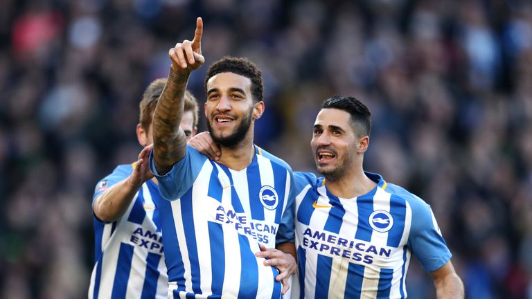 BRIGHTON, ENGLAND - FEBRUARY 17:  Connor Goldson of Brighton and Hove Albion celebrates scoring his side's second goal with Beram Kayal during the The Emir