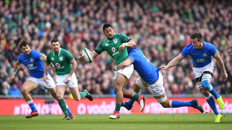 Bundee Aki was also on the scoresheet for Ireland, and one of the top performers on the day