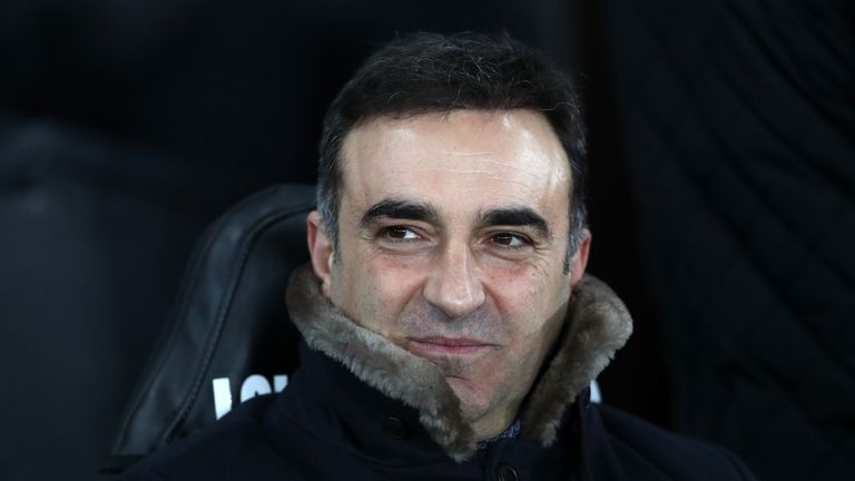 SWANSEA, WALES - FEBRUARY 06:  Carlos Carvalhal, Manager of Swansea City looks on during The Emirates FA Cup Fourth Round match between Swansea City and No