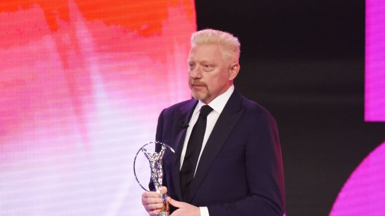 Boris Becker is interviewed by media prior to the Laureus World Sports Awards