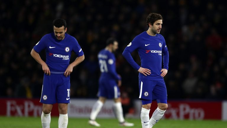 WATFORD, ENGLAND - FEBRUARY 05: A dejected Cesc Fabregas of Chelsea during the Premier League match between Watford and Chelsea at Vicarage Road on Februar