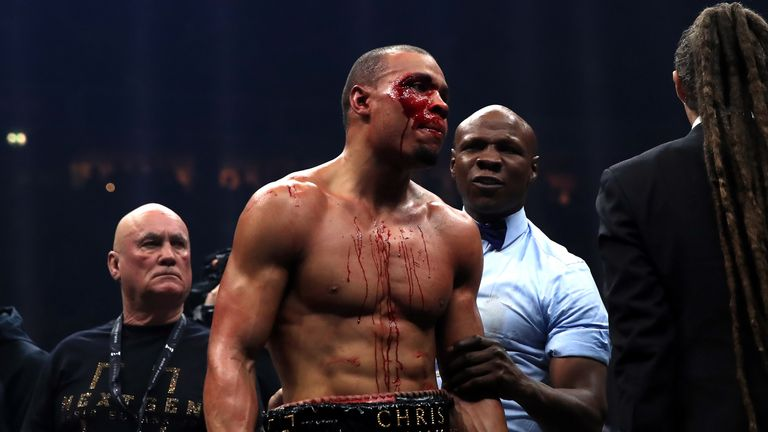 Chris Eubank during the WBA Super-Middleweight title fight at the Manchester Arena.