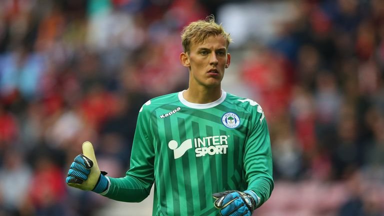 WIGAN, ENGLAND - JULY 14:  Christian Walton of Wigan Athletic during the pre-season friendly match between Wigan Athletic and Liverpool at DW Stadium on Ju