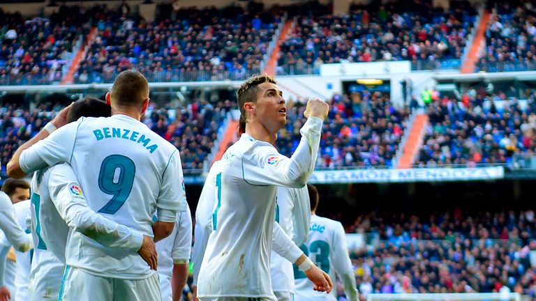Cristiano Ronaldo celebrates after opening the score against Alaves on Saturday
