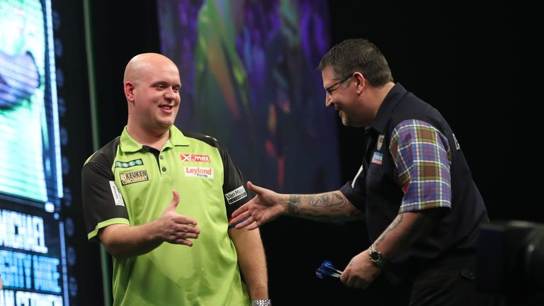 Van Gerwen and Anderson contested a breathless tussle with the world no 1 emerging victorious