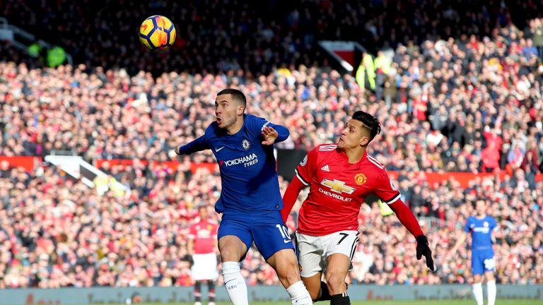 Eden Hazard and Alexis Sanchez battle for possession