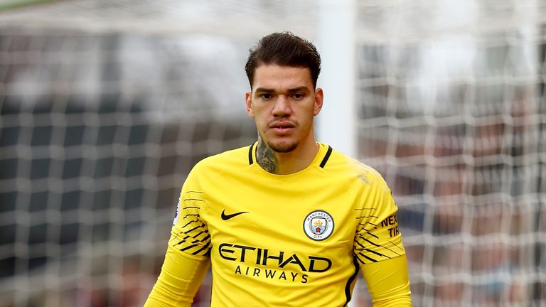 LONDON, ENGLAND - DECEMBER 31:  Ederson of Manchester City looks on during the Premier League match between Crystal Palace and Manchester City at Selhurst