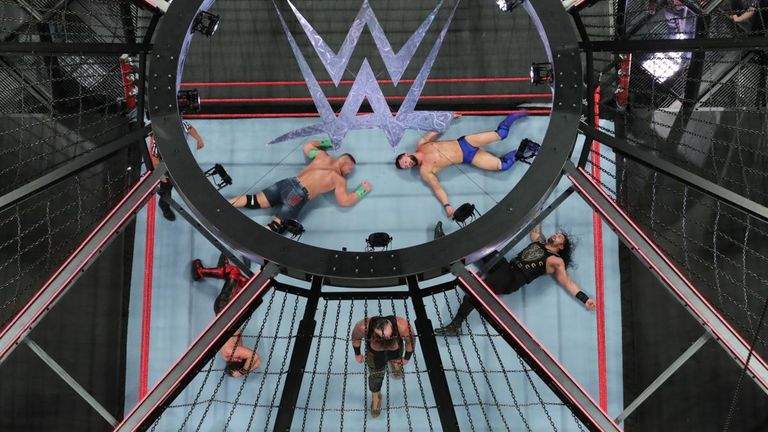 Seven men competed for a Universal title shot at Sunday night's Elimination Chamber