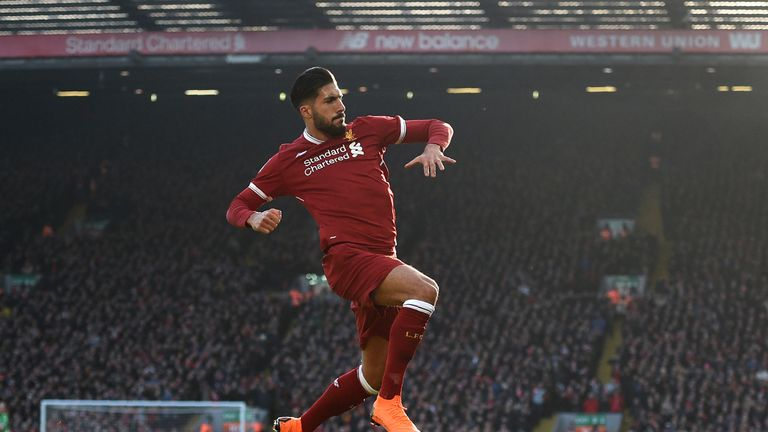 Emre Can celebrates scoring the first goal of the game