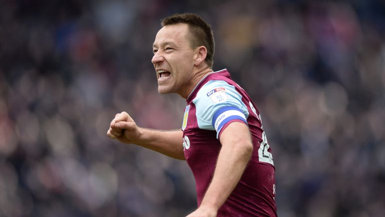Aston Villa's John Terry celebrates after the 2-0 victory over Birmingham City in the Second City derby