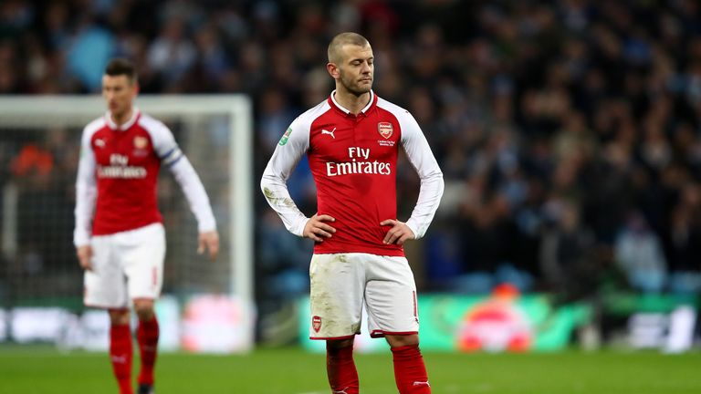 Jack Wilshere looks dejected during the Carabao Cup Final between Arsenal and Manchester City at Wembley Stadium