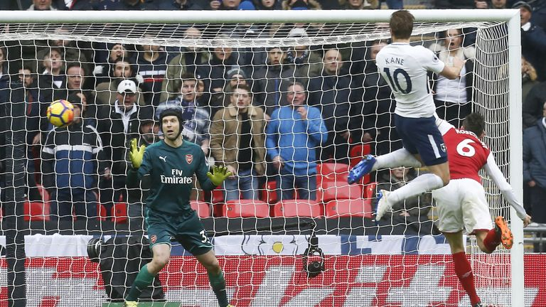 Harry Kane scores the opening goal of the North London derby at Wembley Stadium