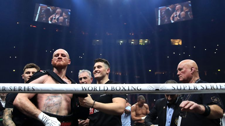 George Groves celebrates winning the WBA Super-Middleweight title fight at the Manchester Arena.