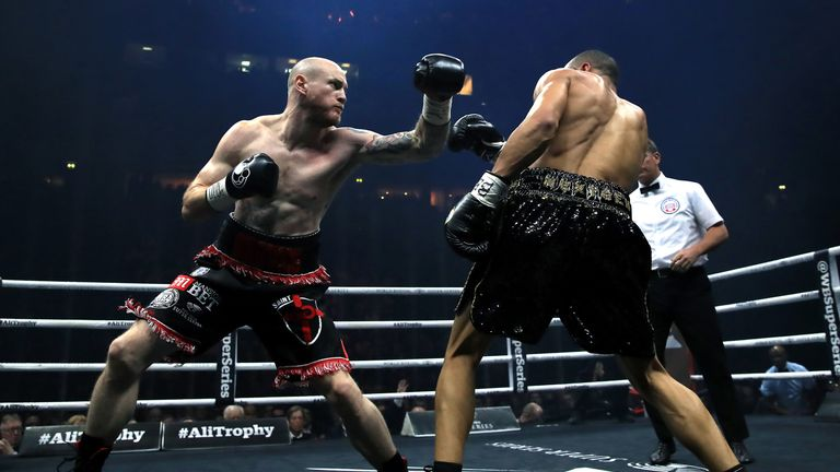 George Groves (left) and Chris Eubank (right) during the WBA Super-Middleweight title fight at the Manchester Arena.