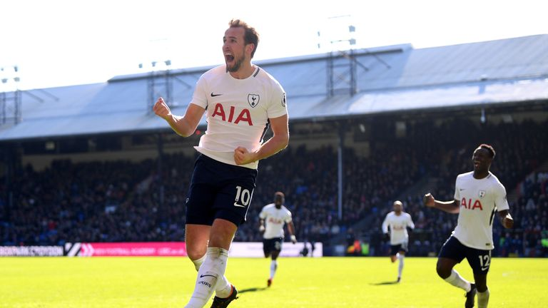 LONDON, ENGLAND - FEBRUARY 25:  Harry Kane of Tottenham Hotspur celebrates after scoring his sides first goal during the Premier League match between Cryst