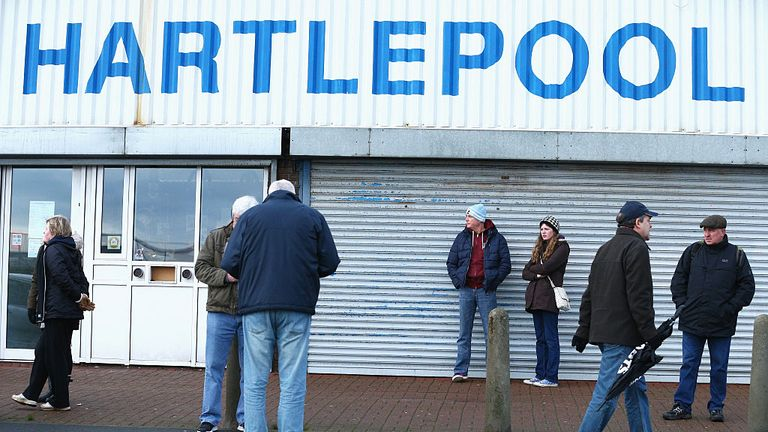 Fans gather outside the stadium prior to the Emirates FA Cup third round match between Hartlepool United and Derby County