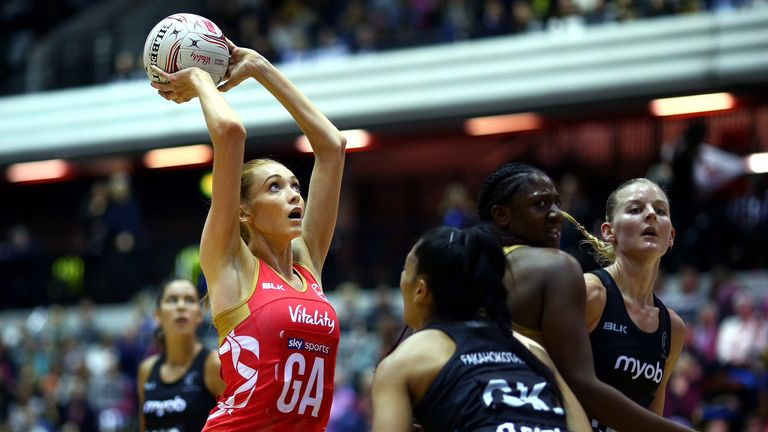 Helen Housby in action during the Quad Series against New Zealand