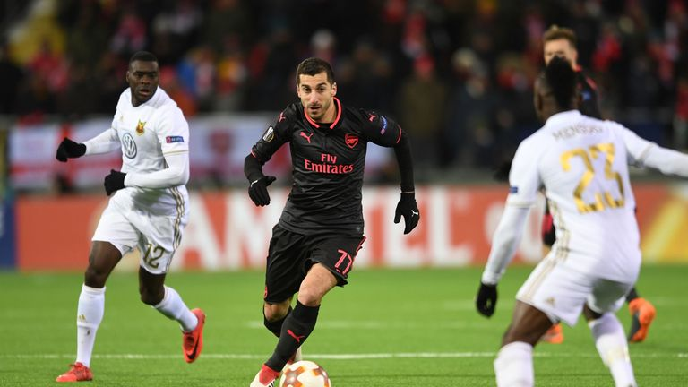 during UEFA Europa League Round of 32 match between Ostersunds FK and Arsenal at the Jamtkraft Arena on February 15, 2018 in Ostersund, Sweden.