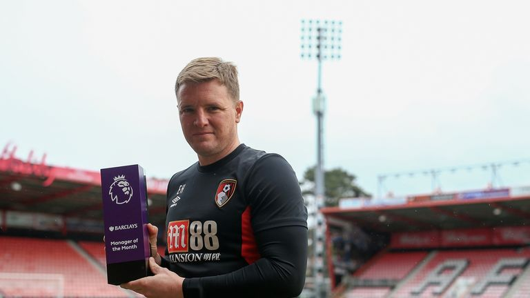 Eddie Howe was the Barclays Manager of the Month for January after a fine run of results