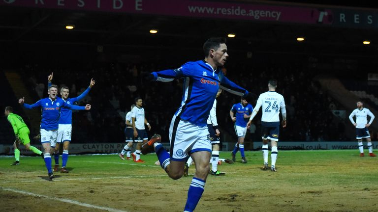 ROCHDALE, ENGLAND - FEBRUARY 06:  Ian Henderson of Rochdale AFC celebrates after scoring his sides first goal during The Emirates FA Cup Fourth Round match