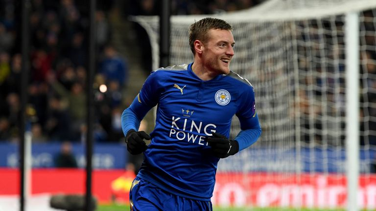 LEICESTER, ENGLAND - FEBRUARY 16:  Jamie Vardy celebrates his scoring his sides first goal during The Emirates FA Cup Fifth Round match between Leicester C
