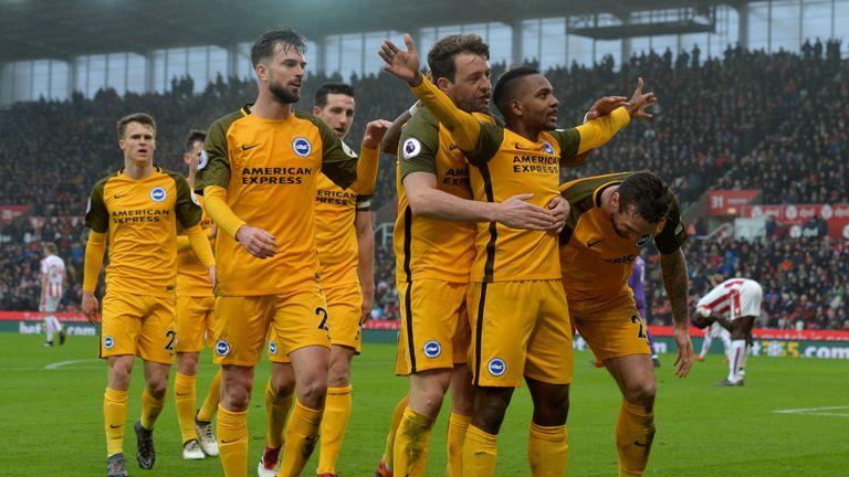 Jose Izquierdo celebrates after opening the scoring for Brighton