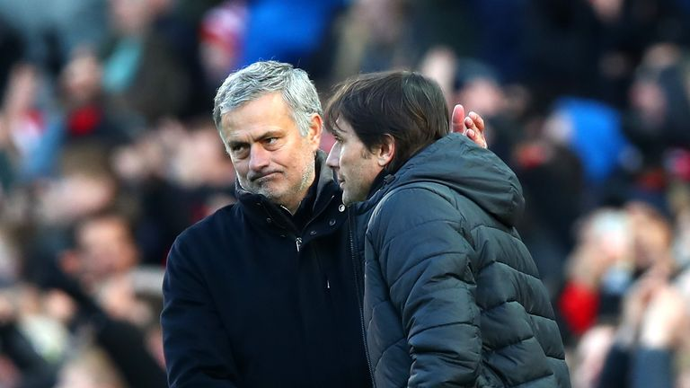 Jose Mourinho and Antonio Conte after the final whistle at Old Trafford