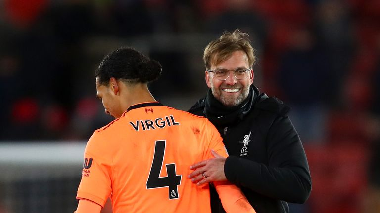 SOUTHAMPTON, ENGLAND - FEBRUARY 11: Jurgen Klopp, Manager of Liverpool and Virgil van Dijk of Liverpool celebrate victory together after the Premier League