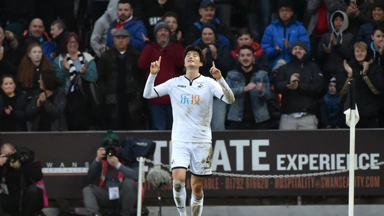 The in-form Sung-Yeung Ki celebrates a winning goal against Burnley