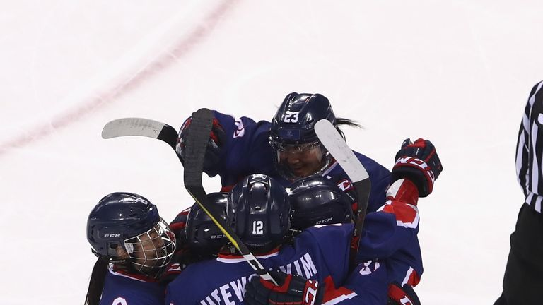 Korea celebrate after Randi Heesoo Griffin scored their first Olympic goal