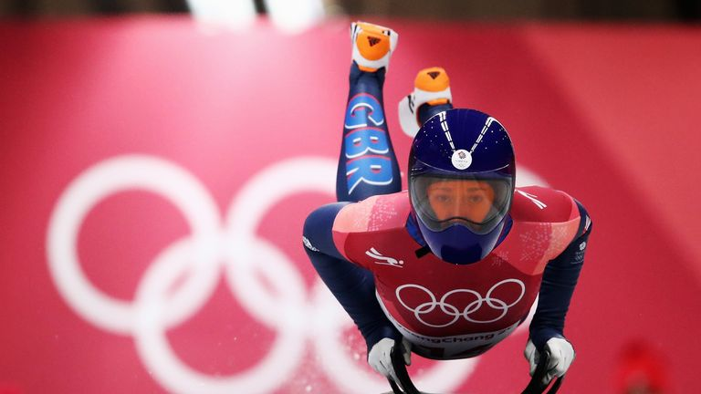 Lizzy Yarnold on her way to securing gold at the Pyeongchang 2018 Winter Games