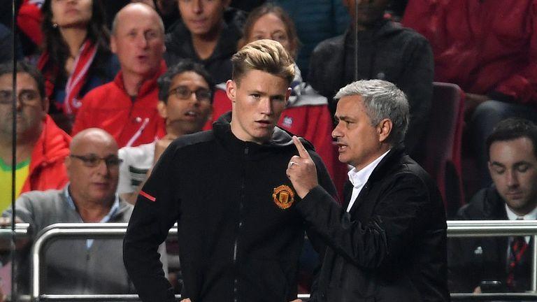 Jose Mourinho speaks to Scott McTominay