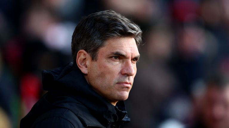 Mauricio Pellegrino, Manager of Southampton looks on prior to the Premier League match between Southampton and Liverpol