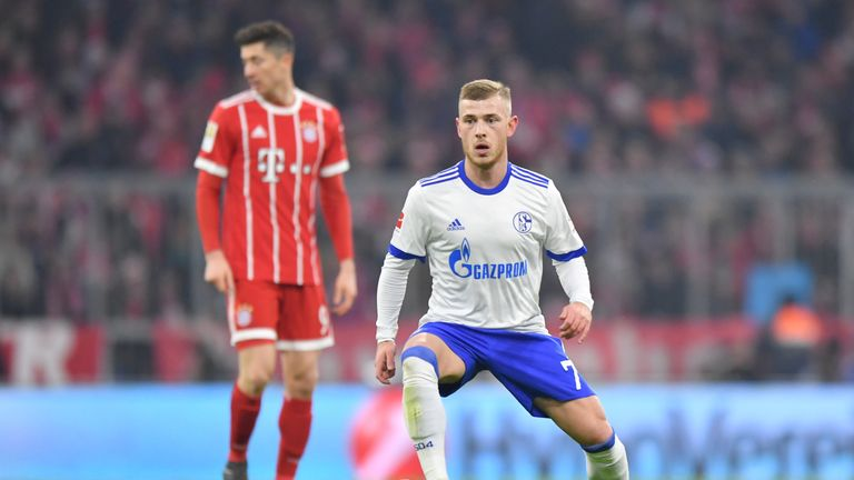 MUNICH, GERMANY - FEBRUARY 10: Max Meyer of Schalke plays the ball during the Bundesliga match between FC Bayern Muenchen and FC Schalke 04 at Allianz Aren