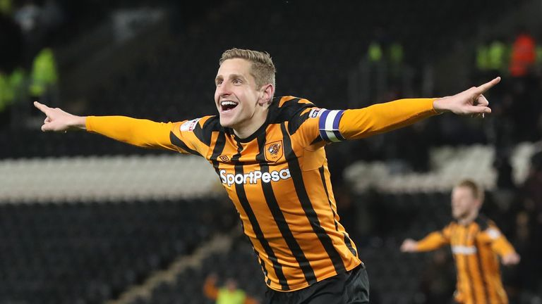 Hull City's Michael Dawson celebrates scoring his side's first goal of the game during the Sky Bet Championship match at the KCOM Stadium, Hull.